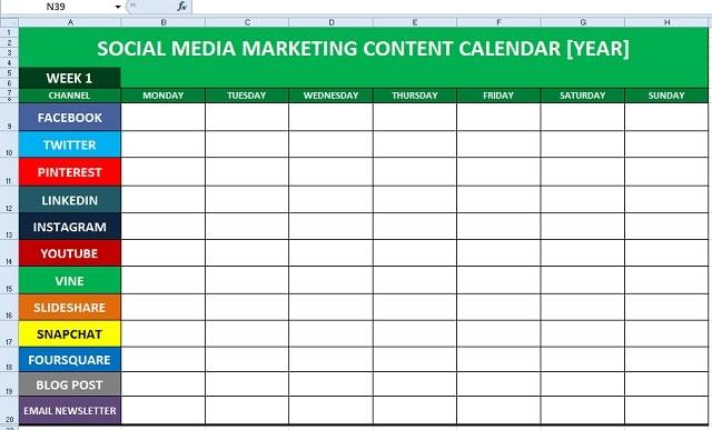 Calendrier social media: exemple