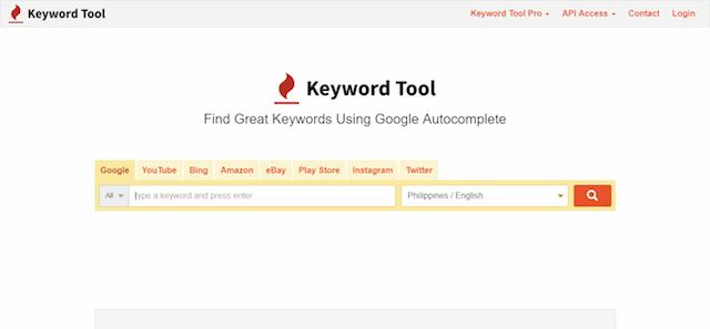 Keyword Tool homepage: credits https://keywordtool.io/