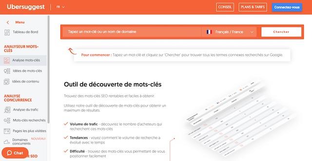 Ubersuggest: credits app.neilpatel.com/fr